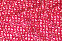 Rød julebomuld med små rensdyr i hvid og guld
