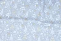 Sandfarvet julebomuld med off white træer og guld