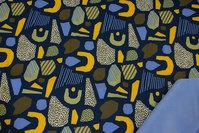 Softshell i marine og gul med lys blå fleecebagside
