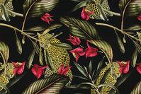 Sort bomuldsjersey med blade og ca. 15 cm leoparder