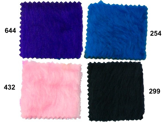 Teddy bear eller imiteret pels i blå, lyserød, sort