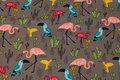 Jordfarvet isoli med ca. 7 cm flamingoer.