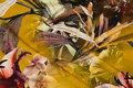 Messingfarvet bomuldsjersey med store, flotte orkideer.