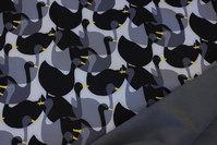 Grå og sort Softshell med ca. 8 cm fugle og koksgrå fleecebagside.