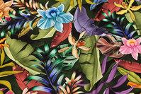 Viscose jersey med flotte eksotiske blomster og blade