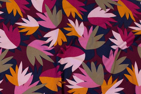 Viscosejersey med blade i bordeaux, cerise, pink