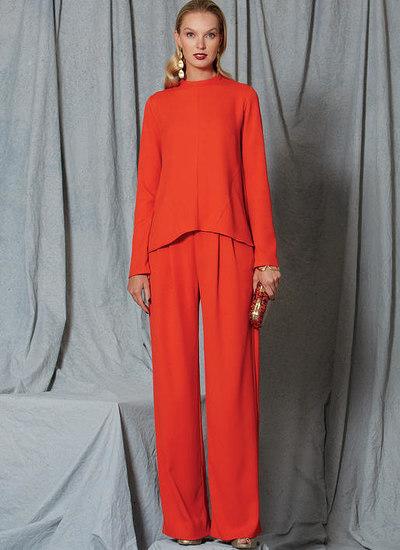 Diagonal-Seam Top and Pleated Pants, Custom Fit
