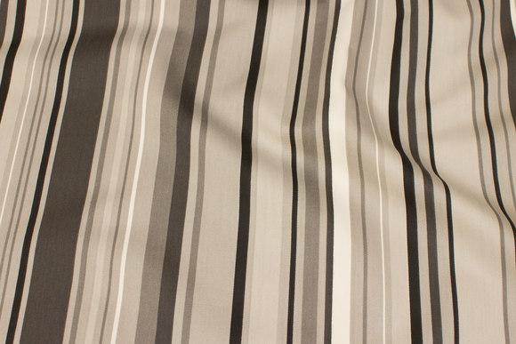 Bomuld-polyester satin med striber på langs i grå nuancer