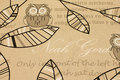 Hør-look med ugler, blade og skrift
