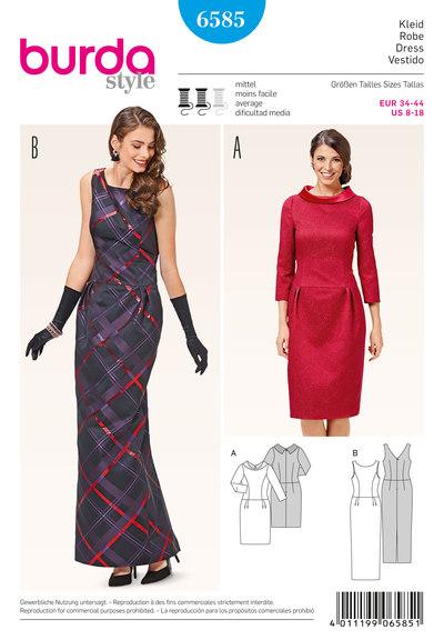 Cocktail kjole, smal kjole, lav talje