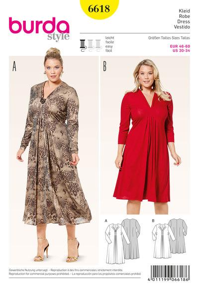 Jersey kjole med v-halsudskæring og læg