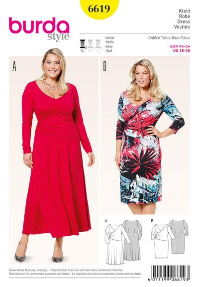Jersey kjole med slå-om udseende