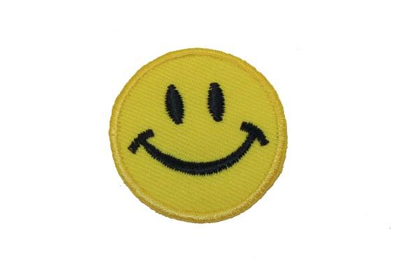 Lille smiley strygemærke ø 3,5 cm
