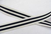 Grossgrain bånd hvid/sort strib 2,5cm