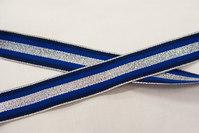 Grossgrain bånd kongeblå,marine og metal strib 2,5 cm
