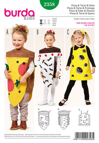 Pizza og kage og ost, små børn. Burda 2358.