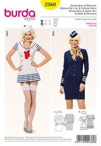 Stewardesse og sejler pige . Burda 2360.