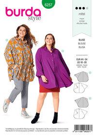 Bluse, kappelignende, stående eller skjortebluse-krave. Burda 6257.