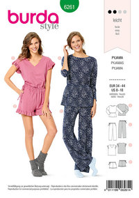Pyjamas, nattøj. Burda 6261.