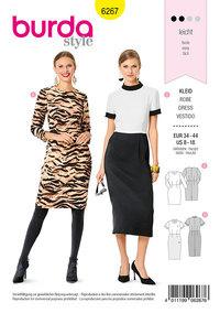 Rør-kjole med trekvart ærmer og stående krave. Burda 6267.