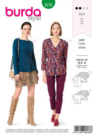Top, inverteret plissering foran. Burda 6276.