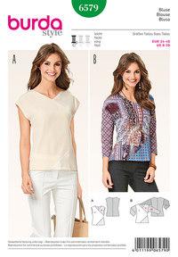 Bluseskjorte, v-halsudskæring, patchwork. Burda 6579.