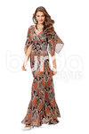 Evening kjole, draperet fronts og brede nederdel
