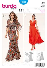 Evening kjole, draperet fronts og brede nederdel . Burda 6583.