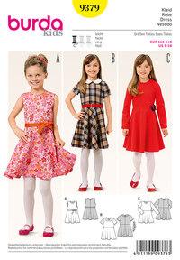 Klokkeformet kjole til piger. Burda 9379.