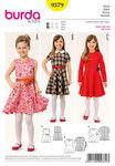 Burda 9379. Klokkeformet kjole til piger.