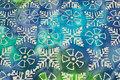 Batik-bomuld i blå og grønne nuancer.