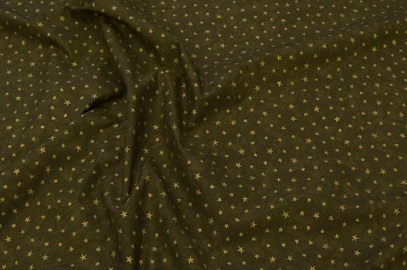 Coated bomuld til juleduge i Olivengrøn med guldstjerner