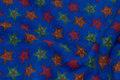 Coboltblå fleece med stjerner på ca. 3 cm
