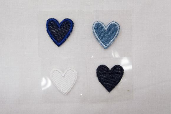 Denim hjerte strygemærke 2 x 2 cm
