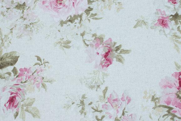 Hørfarvet bomuld og polyester med roser