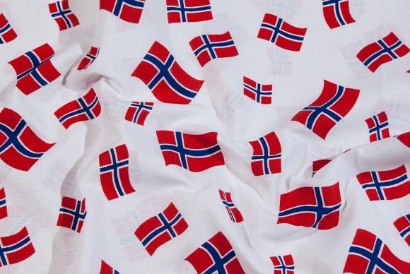 Hvid bomuld med norske flag