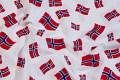 Hvid bomuld med norske flag.
