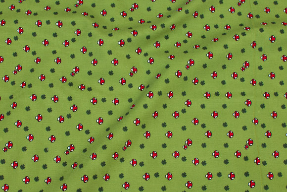 Kiwigrøn babyfløjl med små paddehatte