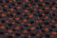 Koksgrå filtet uld med orange og brune knopper