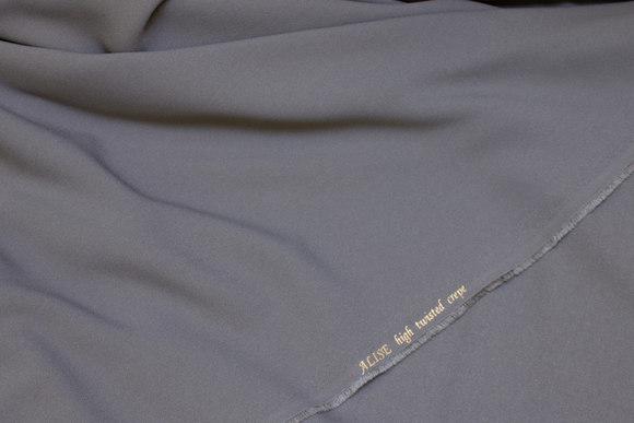 Mellemgrå kjolecrepe i High Twist kvalitet