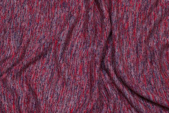 Mellemsvær, meleret jersey-strik i rød og marine