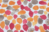 Råhvid bomuldscanvas med mønster i varme farver