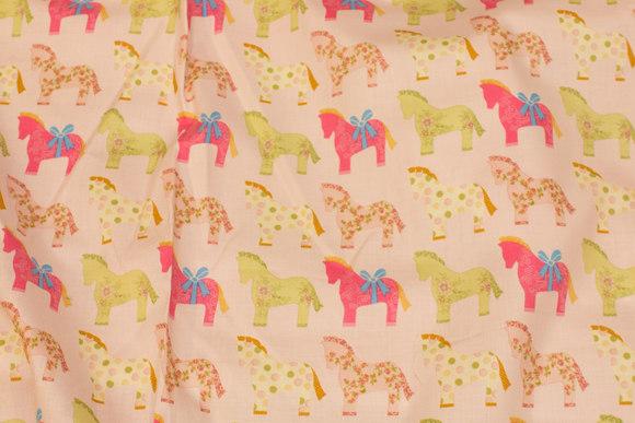 Sart rosa bomuld med heste i pink og grøn