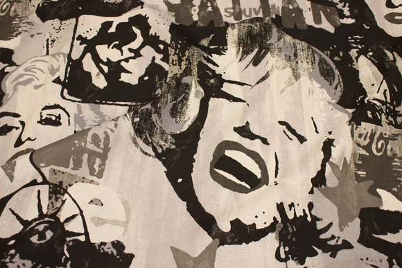 Sort, grå og hvid, kraftig bomuld-polyester med Marilyn Monroe