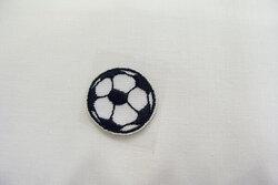 Fodbold strygemærke sort Ø ca 2cm