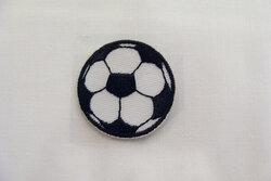 Fodbold strygemærke sort Ø ca 3cm