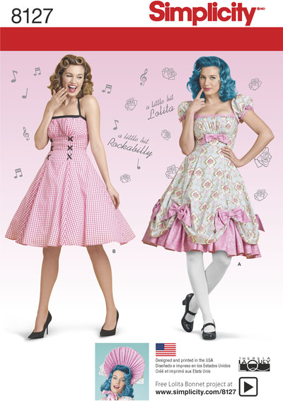 Lolita og rockabilly kjoler, 7 designs