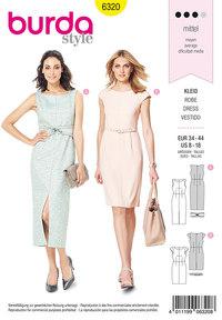 Slank kjoler med længde og slids eller knælang. Burda 6320.