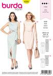 Burda 6320. Slank kjoler med længde og slids eller knælang.