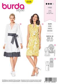 Elegante kjoler med taljebinding. Burda 6338.